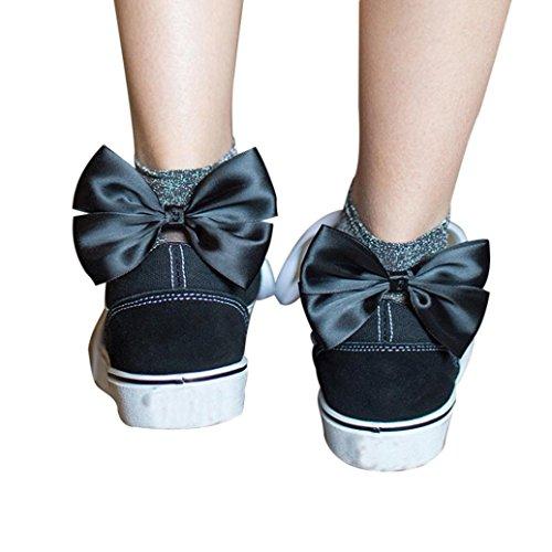 TWIFER Mädchen Rüsche Fischnetz Knöchel hohe Socken Maschen Spitze Netz Kurze Socken (Schwarz, Freie Größe)