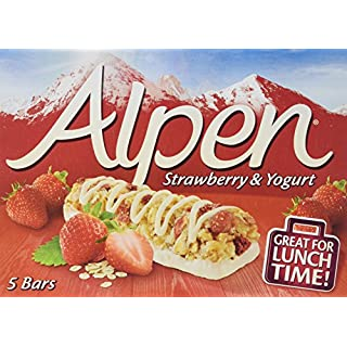 Alpen Strawberry and Yoghurt 5 Cereal Bars (Pack of 10, Total of 50 Bars)