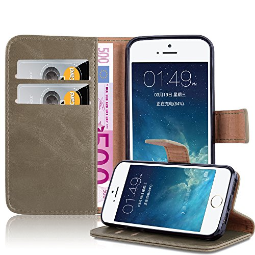 Cadorabo - Luxury Etui Housse pour Apple iPhone 5 / 5S Portefeuille (stand horizontale) en NOIR DE JAIS Marron