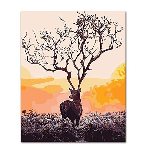 LAMAMAG Malen nach Zahlen Deer Shadow DIY Malen Nach Zahlen Acrylfarbe Nach Zahlen Handgemaltes Ölgemälde Auf Leinwand Für Wohnkultur