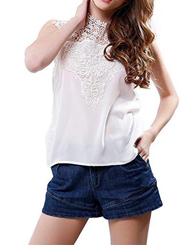 Femmes Haut Dentelle Débardeurs Sans Manches En Mousseline De Soie Chemises Blouse Blanc