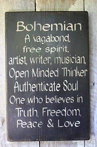 Tiukiu Bohemian Definition Holzschild Spirituosen-Geschenkidee, Wanddekoration