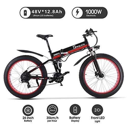 Shengmilo 1000W Mountain Ebike Des Elektrischen Fahrrad Fährt 26 Zoll Fetten Reifen-Straßen-Fahrrad-Strand/Schnee-Fahrrad Mit Hydraulischen Scheibenbremsen Und Federungs-Gabel,Rot -