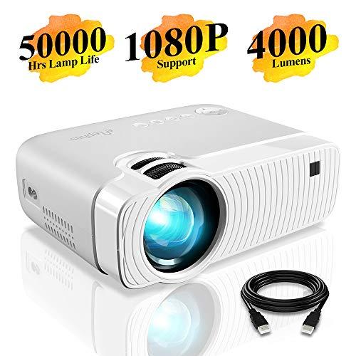 Proiettore elephas portatile da 4000 lumen,lampada con durata di 50000 ore, proiettore video a led, supporta il video 1080p, compatibile con ingressi usb/hd/sd/av/vga per home theater