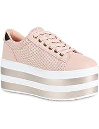 cadb532270362e Stiefelparadies Damen Plateau Sneaker Metallic Lack Schuhe High Heel  Plateauschuhe…