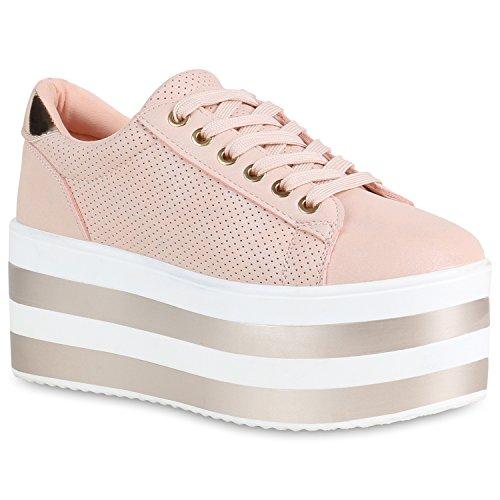 Damen Plateau Sneaker Metallic Lack Schuhe High Heel Plateauschuhe 155483 Rosa 40 Flandell