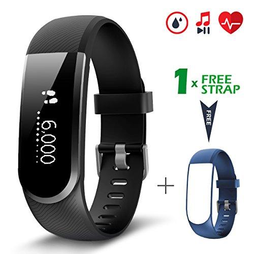 Pulsera Actividad [versión mejorada] con control de frecuencia cardíaca podómetro monitor, CHEREEKI Smartwatch pulsera inteligente de sueño compatible con sistema Android e iOS Smartphones (Negro)