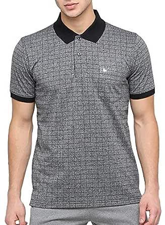 BULLMER Men's Half Sleeve Polo Neck Cotton T-Shirt - BUL-BFE415B - Grey/Black