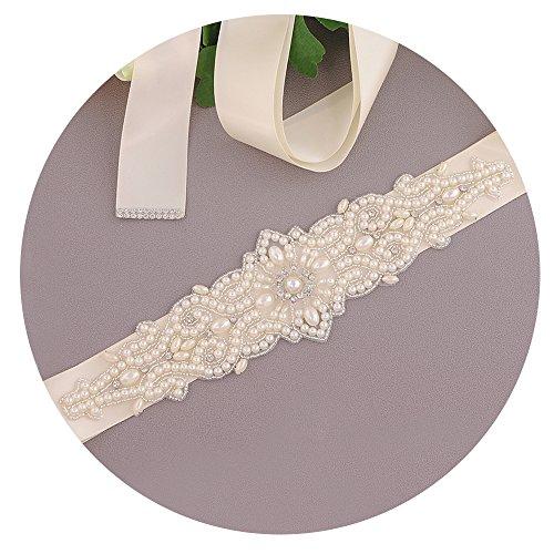 TOPQUEEN Damen Perle Hochzeit Gürtel Sash,Strass Braut Gürtel Sash, Strass Braut Sash Schärpe Perlen Hochzeit Schärpe Sash (Elfenbein)