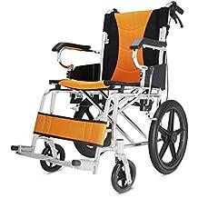 Polironeshop - Práctica silla de ruedas ortopédica, plegable y ligera con estructura de aluminio y propulsión automática para personas mayores, discapacitadas o en periodo postoperatorio, ideal para viajes y apta para uso tanto en exteriores como en interiores , nero/arancio