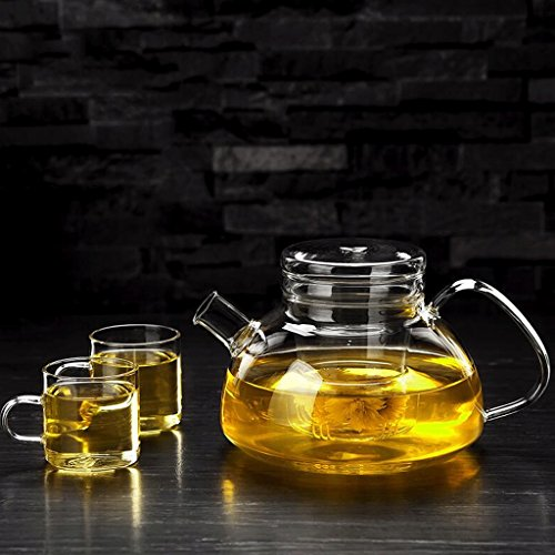 Théière Ensemble de thé en Verre Pot de thé Maison Fleur Pot Ensemble de thé Ensemble de Filtre en Verre 1000ml 2 \ 4 Tasses GAODUZI (UnitCount : A)