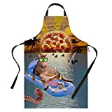 Küche Schürzen Funny Pizza Sunrise Katze Urlaub BBQ Schürze Backen Geschenke Herren Neuheit Kochen Köche Geschenkidee