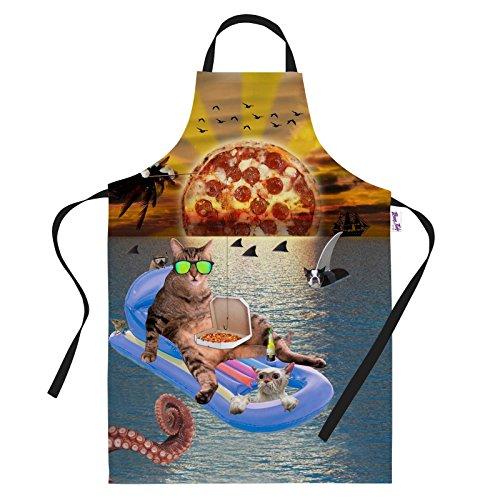 Küche Schürzen Funny Pizza Sunrise Katze Urlaub BBQ Schürze Backen Geschenke Herren Neuheit Kochen Köche Geschenkidee (Lustige Herren Schürzen)