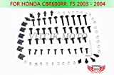 VITCIK Verkleidung Kompletter Schraubensatz für CBR 600 RR F5 2003 2004 CBR 600 RR F5 03 04 Motorrad Befestigungsmittel CNC-Aluminiumklammern (Schwarz & Silber)