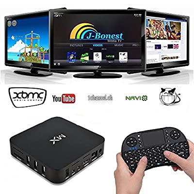 J-Bonest® Free Mini Wireless Keyboard Touchpad with Android TV Box 4.2 Blue ray Wifi Fully Loaded Free Sports Free Movies UK Plug and Play 1080p Vortex Dual Cotex A9 Dual mali 400 Streaming Media Player KODI(XBMC) mini PC online Video HD player Audio Play