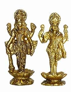 Bharat Haat laiton Vishnu Laxmi debout Statuette de collection 5,08 X 2,54 X 2,54/jaune