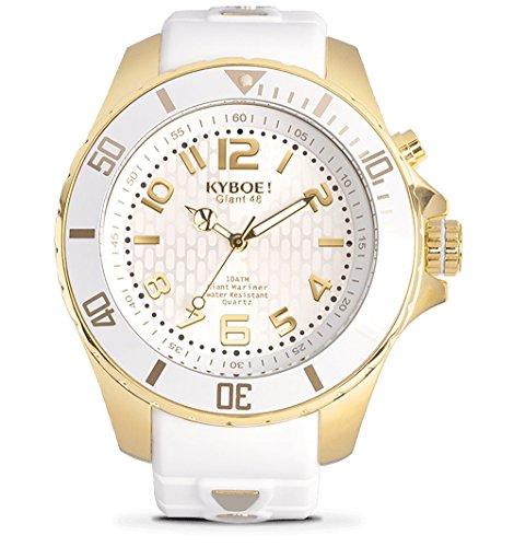 KYBOE! Reloj de cuarzo de acero inoxidable y silicona (modelo: dorado fantasma)