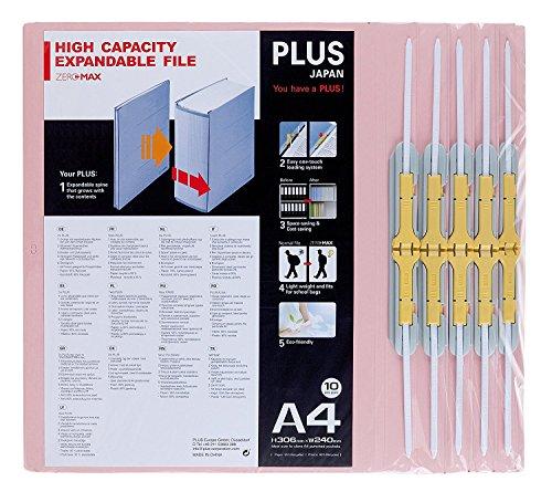 PLUS Japan, Zero Max Platzsparordner in Pink, 10er Pack (1x 10 Ordner)