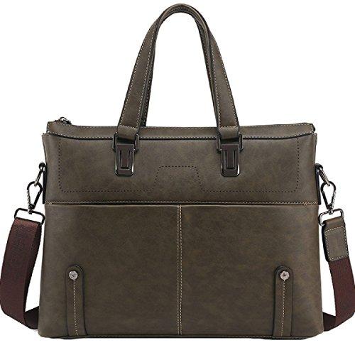 Männer PU Handtasche Business Aktenkoffer Umhängetasche Horizontale 14-Zoll-Computer Tasche Green