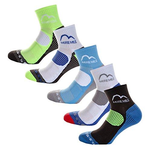 More Mile London (5 Pack) Mens Running Socks, Multi, UK 5.5-8