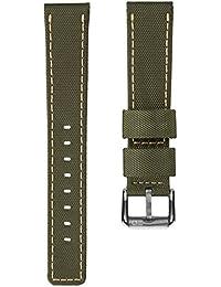Correa de reloj ZULUDIVER® nylon Impermeable Verde, Amarillo, 20mm