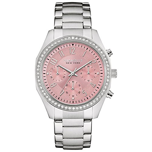 Caravelle New York Silver Boyfriend Women's Quartz Watch with Pink Dial Chronograph Display and Silver Stainless Steel Bracelet 43L191