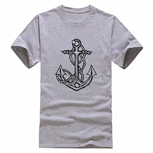 Men's Anchors Printed O Neck Cotton Tee Shirt 2