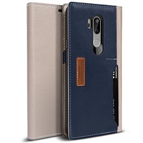 Obliq LG G7 ThinQ Hülle, [K3 Wallet] Stylischer Flip Cover Wallet Case aus hochwertigem italienischem Leder mit Drop Protection & Shock Absorbing Kissen für Das LG G7 (2018) (Schlammgrau/Navy)