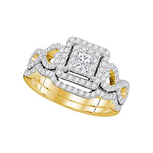 Diamond2Deal Herren Unisex Damen - 14 Kt 14 Karat (585) Gelbgold Prinzess Leicht Getöntes Weiß/Top Crystal (I) Diamant