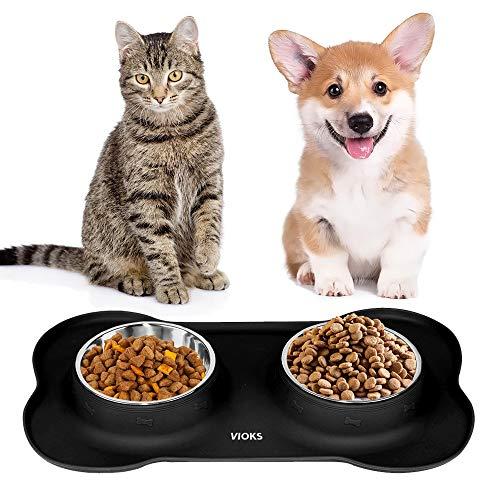 Silikon-Napfunterlage für Katzen- und Hundenäpfe mit Edelstahlschüsseln - Fressnapf, Futternapf, Katzenzubehör Hundezubehör Schwarz