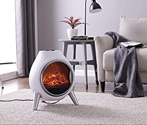 LIVIVO Retro Styled 1.8Kw Electric LED Log Fire Effect Fire with Freestanding Modern Design and Independent Heat and Light Controls