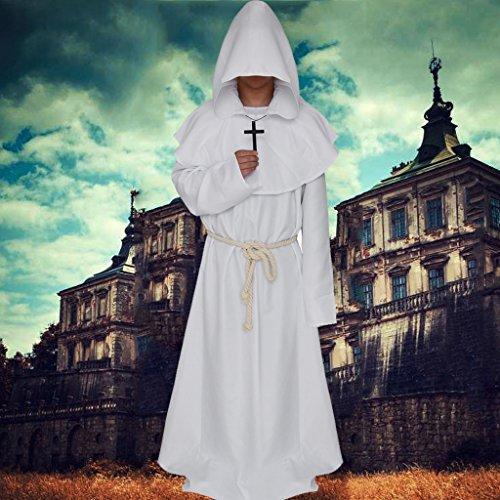 Sharplace Erwachsenenkostüm Heiliger Priester Papst Heiliger Kostüm Mönch Nonne Kirche Bischof für Halloween Karneval Fasching Kostüm - Weiß, M