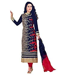 Muta Fashions Navy Blue Embroidered Classical Girl's Suits ( Semi Stitched_11 to 25 years_Navy Blue)