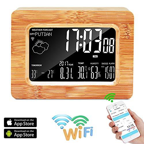 BALALALA Reloj Digital LCD, estación meteorológica WiFi Reloj de Mesa de Alarma de Madera LCD Pronóstico...