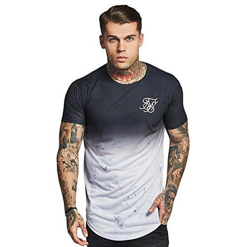 Sik Silk Hombres Ropa Superior/Camiseta Marble Fade Curved Hem