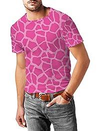 Jirafa impresión brillante rosa para hombre mezcla de algodón T-Shirt