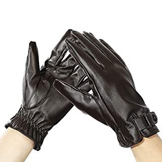 Aogolouk Women Winter Leather Gloves for Driving Texting | Warm Lined Touch Screen Gloves | Elastic Wrist Strap | Waterproof (Dark Brown)