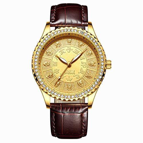 ChenHui Uhr, Farbe Diamond Dial Dial Zwölf Sternzeichenuhr, Wasserdichtes Geschenk Drachen und Phoenix Vergoldete UH