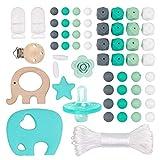 Silikon Perlen Kit Sensorische Kauen Zubehör Baby Armband Beißring Monat alte Spielzeug Dummy Clips aus Holz Schnuller Clips BPA frei beste Dusche Geschenk für jungen handgemachten Schmuck