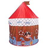 Play House - Foldable Pirate Ship Theme With Red Roof Pop Up Play Tent House For Kids With Carry Bag - House Toy for Indoor & Outdoor Use - Makes Perfect Gift for Boys & Girls By Shuban – Coffee Color
