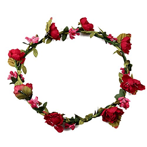 Butterme Damen Mädchen Blumen Stirnband Haarband Kopfband Krone Boho Blumenhaar Dekoration für Garland Wedding Festival Party Travel (Rot)