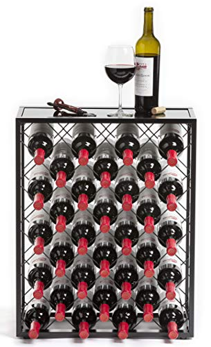 32 Flaschen Weinregal mit Glasplatte, Schwarz / (MEHRWEG)