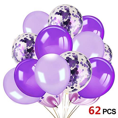 Howaf 60 Stück 12 Zoll Luftballons weiße Lila Luftballon Konfetti Ballons Latexballons Heliumluftballons Partyballon für Hochzeit Deko, Geburstagsdeko, Babyparty Deko