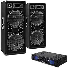 DJ-20 Equipo de audio PA Amplificador Altavoces Microfono Cables (2000W de potencia, completo set para eventos DJ)