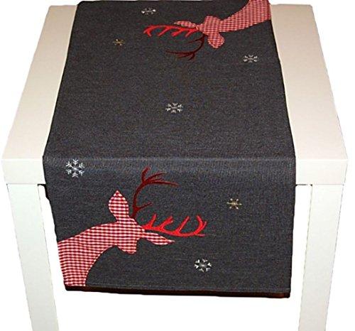 (Tischdecke Weihnachten 40x85 cm Eckig Anthrazit Hirsch Rot Weiß Kariert Nordisch Landhaus Advent (Tischläufer 40x85 cm))