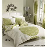 Hachette [3pc Manhattan Crema y Verde Tamaño King Ropa de cama juego de edredón con fundas de almohada