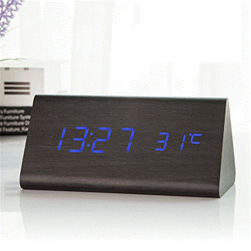 AIZIJI Kreative einfache LED Holz Wecker leuchtende stumme Datum Temperaturanzeige Sprachstudent Bedside elektronische Nummer, Blackwood blau