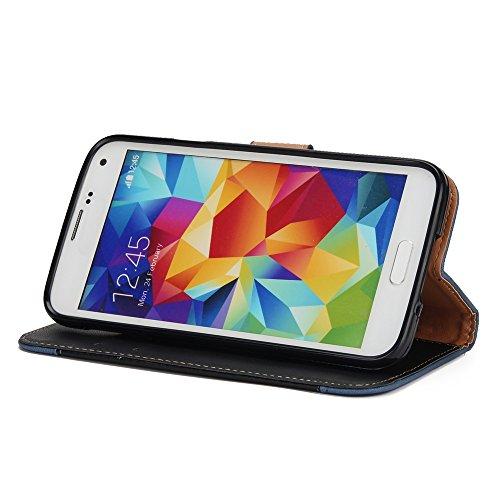 EKINHUI Case Cover Gemischte Farben Rose Blume matt Premium PU Leder Brieftasche Stand Case Cover mit Lanyard & Card Slots für Samsung Galaxy S5 ( Color : Gold ) Black