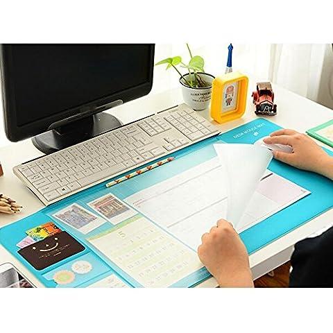 Sous-main Multifonction Tapis de Souris Anti-glissade Tapis de Bureau avec sans plastifiants / PVC | parfait pour les enfants ou le bureau | taille 70x32cm (Bleu)