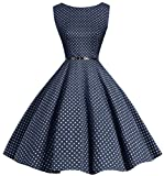 bbonlinedress 50s Retro Schwingen Vintage Rockabilly Kleid Faltenrock Navy Small White Dot S